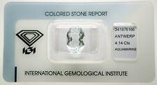 Natural Aquamarine 4,14ct Light Blue Oval Mixed Cut IGI Certificat - sealed
