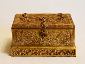 Circa 1915 Tiffany Studios New York Venetian Gilt Bronze Double Inkwell Box