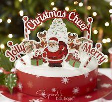 CHRISTMAS CAKE DECORATION SET - 11 x Toppers & Wrap - Santa/Father Xmas/Reindeer