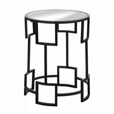 Modern Round Side Table Geometric Design Mirrored Glass Top Iron Base Black