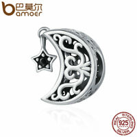 BAMOER 925 Sterling silver Charm Star and moon With Black CZ Dangle For bracelet