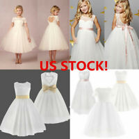 US Flower Girl Dress Wedding Bridesmaid Formal Pageant Party Kid Lace Tutu Gown