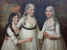 Late 18th Century Scottish School Antique Oil Portrait of 3 Ladies Oil Painting