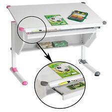 Kinderschreibtisch weiß höhenverstellbar mit Schublade für Schüler rosa pink