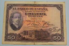 "50 PESETAS 1927 SPAIN SELLO REPUBLICA + SELLO SECO ALFONSO XIII PICK# 80 ""G+"""