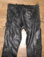 ">>> Lace-Up Leather Jeans / Biker Trousers for Men IN Black Approx. W33 ""/ L34 """