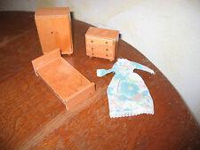 CASA di bambole in legno camera da letto letto chestdrawers wardrode CASSETTI MOBILI di estrazione