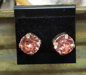 Authentic Swarovski 8mm Lt Rose Crystal Earrings by Shelia White - Studs Silver