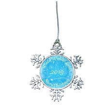 Merry Christmas 2019 Snow Flake Ornament Silver Plated Metal Gift Keepsake Decor