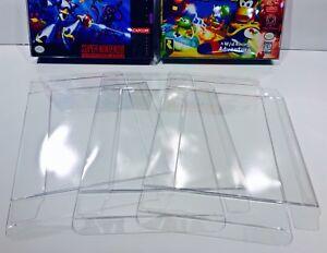 25 SNES / N64 / ATARI JAGUAR Box Protectors   Clear Cases   Super Nintendo N64