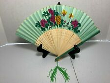 VINTAGE CHINESE FAN MADE OF BAMBOO AND FABRIC, GREEN, FLOWERS, BUTTERFLIES