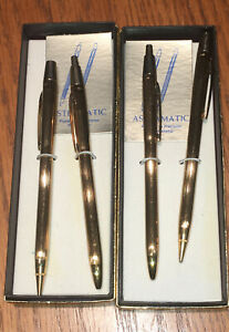 NOS Astramatic boxed gold metal pen & pencil set with original papers,MINT