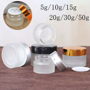 5g-50g Frosted Glass Cosmetic Jars Cream Bottles Lip Balm Pots Vials Containers
