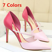 Women's Strappy High Heeled Pointed Toe Slip On Stilettos Wedding Pumps Shoes