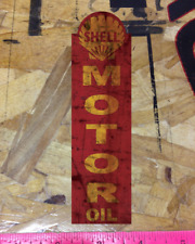 """Shell Motor Oil Tall 6"""" Rusty Vintage look distressed Vinyl Decal Sticker"""