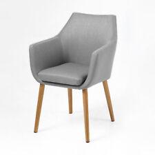 Stuhl Nora Esszimmer Sessel Armlehnenstuhl In Vintage Stoff Hellgrau Beine  Eiche