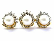18Kt South Sea Pearls & Diamond Yellow Gold Ring & Earrings 10mm 1.36Ct