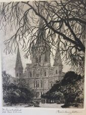 MORRIS HENRY HOBBS Signed Etching / Print St. Louis Cathedral Old New Orleans