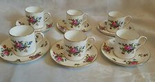 pretty vintage Crown Staffordshire set of 6 coffee can cups saucers pink floral