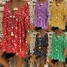 2019 Spring Summer Womens Chiffon V Neck Print Casual Loose Long Sleeve Dress