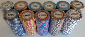 200 poker chips Monte Carlo 14 gram choice of 11 denominations