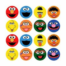 16x EDIBLE Sesame Street Toppers Wafer Paper 4cm (uncut)