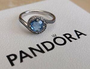 NEW Pandora Radiant Embellishment Ring Sky Blue Silver Box Bag Size 58 RRP £60