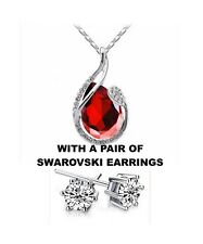 """Red Ruby Gemstone 16"""" Pendant Necklace 925 Sterling Silver Chain"""
