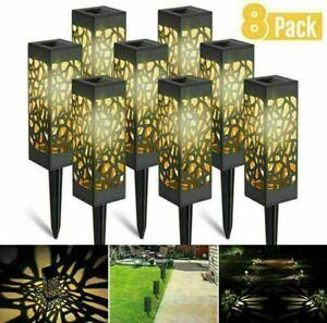 8x LED Solarleuchte Solarlampe Gartenstrahler Schattenlaterne Außen Beleuchtung