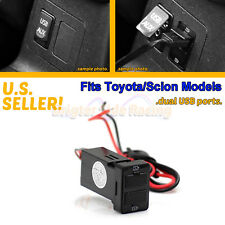 FITS TOYOTA COROLLA/CAMRY 12V DC POWER SOURCE DOUBLE USB PORTS FOR PHONES/TABLET