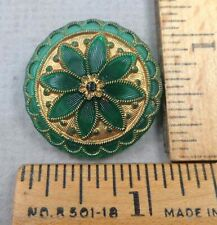 VICTORIAN Green Lacy GLASS BUTTON #52, 1800s, Embossed / Painted Flower Design