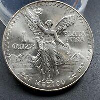1987 Mo 1 oz Onza Mexico Libertad Gem BU UNC Ley .999 Plata Pura Semi Key Date