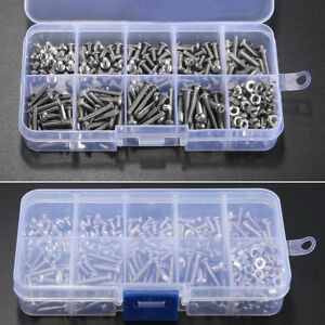 340pcs M3 A2 Stainless Steel Hex Screw Nuts Bolt Cap Socket Assortment Kit