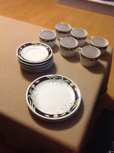Lucky Indonesia Black/White Salad Plates, Saucers & Coffee Cups Stoneware