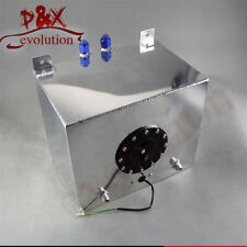 8 Gallon 30.5 Liter Polished Aluminum Racing Drift Fuel Cell Tank + Level Sender