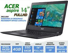 NOTEBOOK ACER ASPIRE 14 INTEL N4200 RAM 4GB DDR4 SSD 64GB FULLHD PC PORTATILE