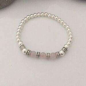 Sterling Silver Rose Quartz Gemstone And Tibetan Silver Bead Stretch Bracelet.