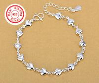 Real 925 Sterling Silver Heart Bracelet Genuine Silver Italian Design Adjustable
