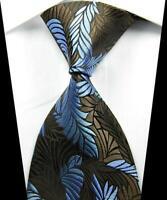 Hot Classic Pattern Brown Light Blue JACQUARD WOVEN 100% Silk Men's Tie Necktie