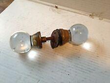 Antique Clear Glass Ball & Brass Doorknob Set~Rod, Screws, Plates