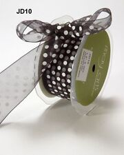 MAY ARTS RIBBONS~SHEER DOTS~BLACK WITH WHITE~1.5 INCHES WIDE~SOLD BY THE YARD!