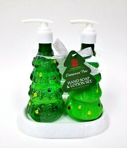 PURE PASSION CINNAMON PINE HAND SOAP & LOTION SET PLASTIC GREEN TREE,WHITE TRAY