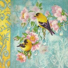 3 x Single SMALL Paper Napkins Decoupage Pink Flowers Yellow Birds on Teal S012