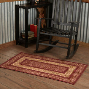 VHC Burgundy Red Eco-Friendly Jute Country Rectangle Braided Rug W/Pad