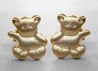 ECHT GOLD 🐻 Kinder Ohrstecker Ohrringe Teddy Bär Teddybär seidenmatt 7 mm