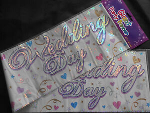 3 X GIANT  FOIL WEDDING DAY BANNERS / WALL BANNERS // PARTY DECORATION