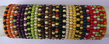 Mens Wooden Bead Tribal / Surfer Elastic Bracelet - 40 Colours / Variations NEW