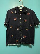 Koret Button Knit Blouse Floral Embroidered Contrast Trim Detail Women's Sz S