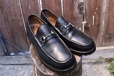 Womens Gucci Loafers Horsebit Size 10.5 B Medium Leather Black Rubber Soles