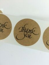 """100 Thank You Stickers on Natural Kraft Paper 2""""Circle Label Sticker Wedding"""